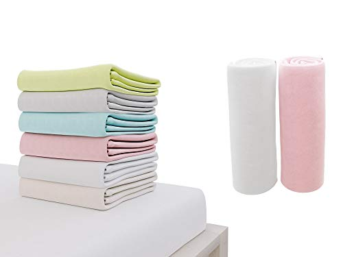 Dreamzie - 2er SetSpannbettlaken 70x140 cm - 100% Jersey Baumwolle Zertifiziert Oeko-TEX® - Weiß und Rose -...