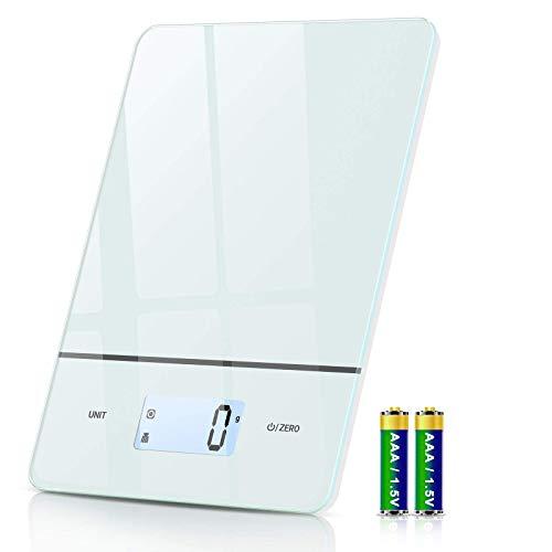 Küchenwaage Digital, 1g/Max 5kg Präzision Waage Küche mit LCD Display, 6 Einheiten, Haushaltswaage mit Glas...
