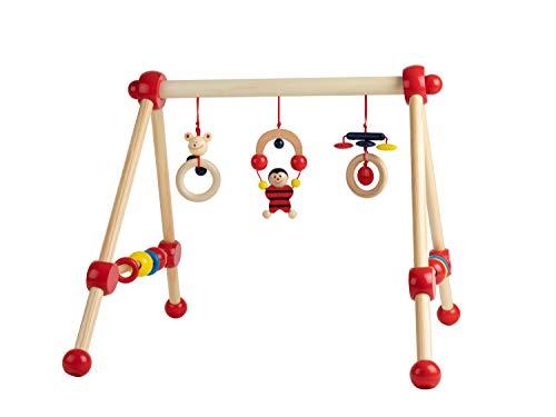 Bieco Spieltrapez | Spielbogen für Babys -Figuren, Rasseln, Kugeln | Spielebogen Holz Baby | Spieltrapez Holz...