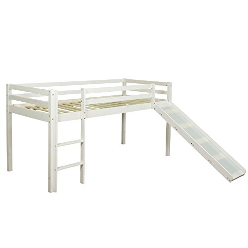Homestyle4u 1434, Hochbett mit Rutsche Leiter Weiß, Kinderbett 90x200 Spielbett für Kinder 90 x 200...