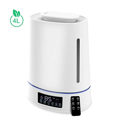 Ultraschall Luftbefeuchter 4L Ultra Leise 28dB Top-Füllung Humidifier mit Fernbedienung, Feuchtemonitor,...