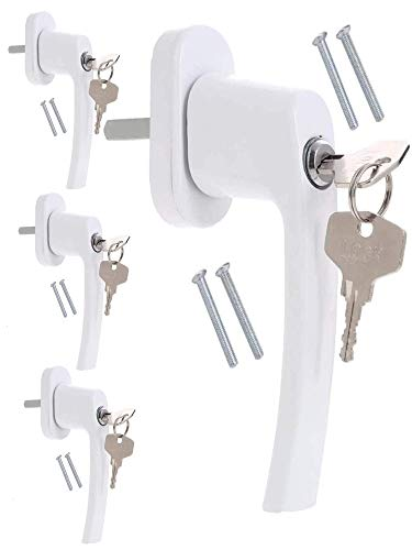 4 Fenstergriffe abschließbar Weiß | Kindersicherung für Fenster | Fenstersicherung mit Schlüssel -...