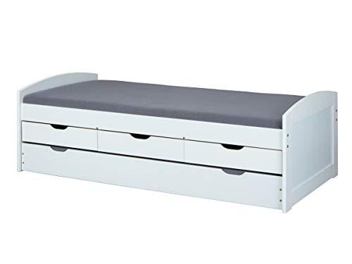 Inter Link Bett Funktionsbett Kinderbett Einzelbett Stauraumbett modernes Bett 205 x 98 x 63 cm Kiefer massiv...