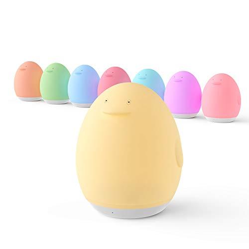 VAVA Nachtlicht Kind Wiederaufladbare Nachttischlampe USB Silikon Pinguin Baby Einschlafhilfen Touch Control...