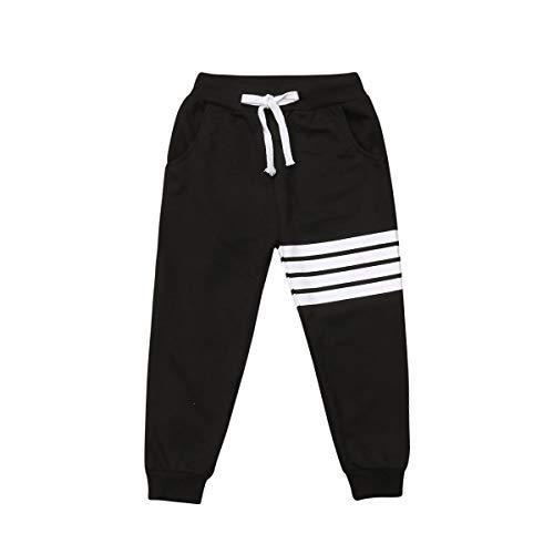 Carolilly Kinderhose, Unisex, Sporthose, gestreift, Trainingshose für Mädchen, hohe Taille, Schwarz 130...