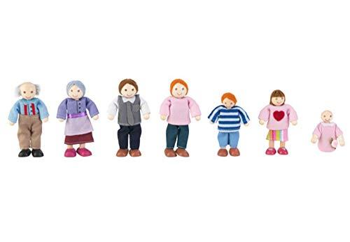 KidKraft 65202 Puppenfamilie 7-köpfig - Europäisch Familien-Set mit Sieben Figuren, Multi