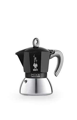 Bialetti New Moka Induction, Kaffeemaschine für Induktion geeignet, Aluminium/Stahl, 4 Tassen, Black