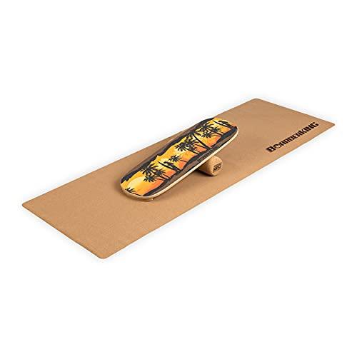 BoarderKING® Indoorboard Hawaii inkl.Korkrolle und Bodenschutzmatte, effektives Core-Training für Zuhause,...