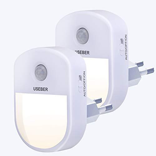 Nachtlicht Steckdose mit Bewegungsmelder, Useber 2 Stück Steckdosenlicht 3 Modi (Auto/ON/OFF) 0,5 W...