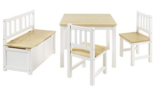 BOMI Kindersitzgruppe Anna mit integrierter Spielzeugkiste | Kindertruhenbank aus Kiefer Massiv Holz |...