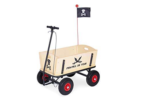 Pinolino Bollerwagen Pirat Jack mit Bremse, aus massivem Holz, Oberteile komplett abnehmbar, Tragfähigkeit 80...