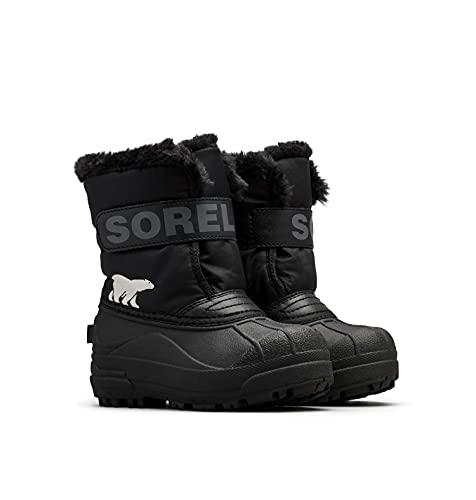 Sorel Unisex-Kinder-Winterstiefel, CHILDRENS SNOW COMMANDER, Schwarz (Black, Charcoal), Größe: 25