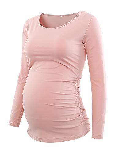 Love2Mi Damen Langarm Schwanger T-Shirt Umstandsshirt Umstandstop Schwangerschaft, Rosa, L