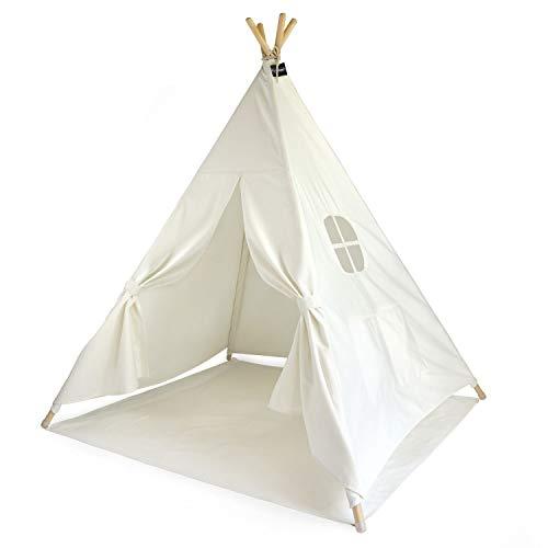 Hej Lønne Kinder Tipi, weißes Zelt, circa 120 x 120 x 150 cm groß, Spielzelt mit Bodendecke und Fenster,...