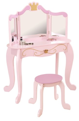 KidKraft 76123 Frisiertisch & Hocker Princess, rosa