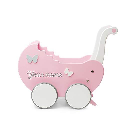 TukuTuk Puppenwagen   Holz   Rosa-Weiß   Handgemacht in EU   Spielzeugwagen mit gummierten Holzrädern  ...