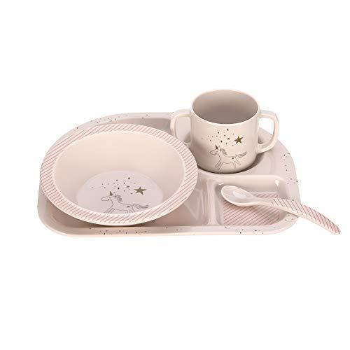LÄSSIG Kindergeschirr Set mit Schüssel Tasse Löffel Teller rutschfest Melamin/Dish Set More Magic Horse,...