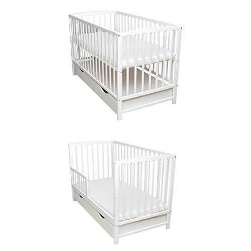 Babybett Schutzgitter 2in1 Gitterbett Kinderbett 120x60 Weiß Matratze Juniorbett Schublade Neu