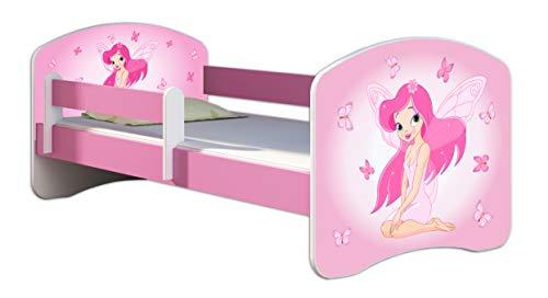 Kinderbett Jugendbett mit einer Schublade und Matratze Rausfallschutz Rosa 70 x 140 80 x 160 80 x 180 ACMA II...