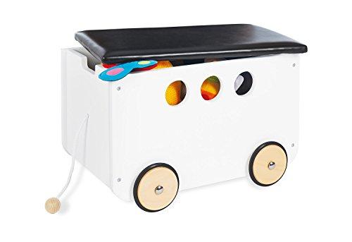 Pinolino Spielzeugkiste Jim, aus Holz und Kunstleder, mit Zugschnur und gummierten Holzrädern, Deckel...