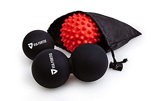 VIA FORTIS Premium Massageball Set inkl. Faszienball, Duoball, Igelball & Tasche - Zur Selbstmassage und...