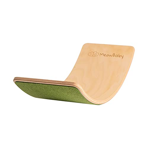 MEOWBABY Balance Board Balancierbrett aus Holz 80x30 cm Wackelbrett Filz für Kinder Gleichgewicht Spielzeug...