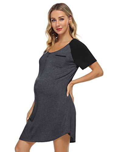 KOJOOIN Damen Stillnachthemd mit Knopfleiste, Umstandskleid Baumwolle V Ausschnitt Umstandsnachthemd...