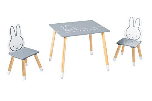 roba Kinder Sitzgruppe miffy, Kindermöbel Set aus 2 Kinderstühlen & 1 Tisch, Sitzgarnitur, Holz, dunkelgrau,...