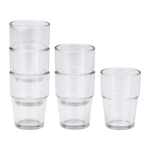 Ikea REKO, Klarglas-6-er Set-Stapelbar-170 ml-9 cm hoch-Spülmaschinenfest, Glas, Transparant, 18 x 14 x 7 cm,...