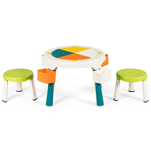 COSTWAY 5 in 1 Kindersitzgruppe, Kinder Spieltisch klappbar, Spieltischset höhenverstellbar, Sitzgruppe...