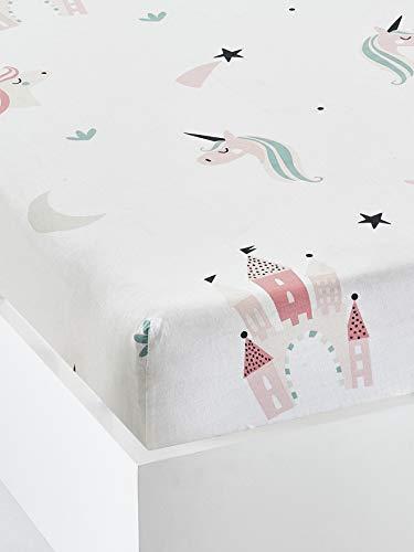 VERTBAUDETSpannbettlaken für Mädchen'Einhörner'weiß bedruckt90x200