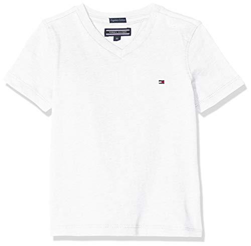 Tommy Hilfiger Jungen Boys Basic Vn Knit S/S T-Shirt, Weiß (Bright White 123), 98 (Herstellergröße: 3)