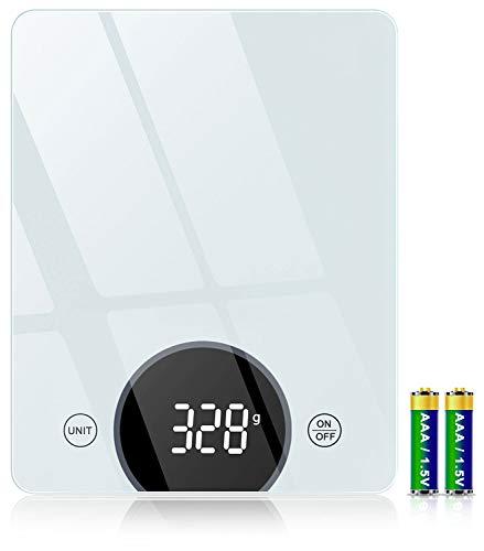 Cocoda Küchenwaage Digital, 10 kg Gehärtetes Glas Waage Küchenwaage mit 2,95 Zoll LED Display und...