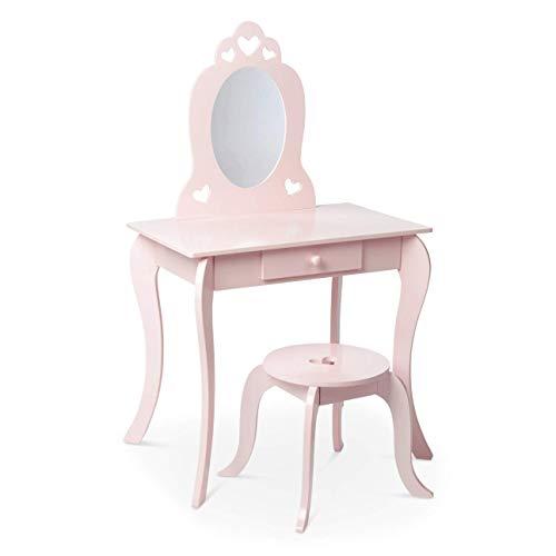 Milliard Kinder Schminktisch mit Hocker und Abnehmbarer Spiegel, Frisierkommode mit Schublade und Herz Entwurf...