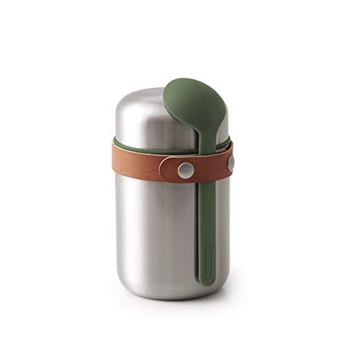 black+blum Food Flask - Olive, 400 ml Lunchbecher, Edelstahl/Vegan Leder, One Size, 2