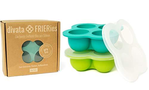 divata Eiswürfelform mit Deckel, 2er Set Frieries – Silikon Gefrierform | EIS und Nahrung Einfrieren, z.b....