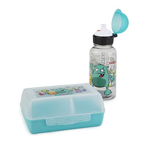 Emsa 518138 Kinder Set Trinkflasche + Brotdose; Motiv: Monster; BPA frei; Material: Trinkflasche aus Tritan...