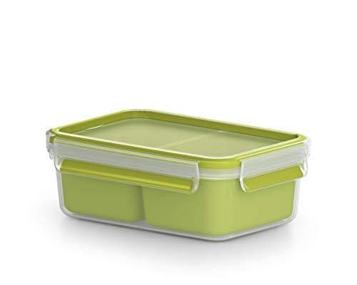 Emsa Lunch und Snackbox, Mit 2 praktischen Einsätzen und Deckel, Volumen: 0,55 Liter, Transparent/Grün, Clip...