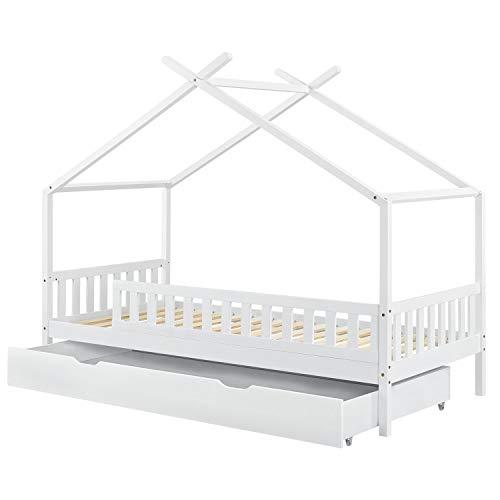 ArtLife Kinderbett Tipi mit Bettkasten und Lattenrost | 90 x 200 cm | weiß | Dach-Gestell für Himmel | Bett...