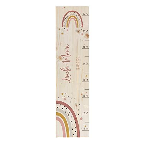 Striefchen® Messlatte für Kinder mit Namen aus Holz für Kinderzimmer mit niedlichen Motiven Messleiste...