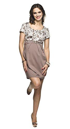 Torelle Maternity Wear Stillkleid Baumwolle, Umstandskleid Damenkleid, Modell: Ronja, beige, Größe M
