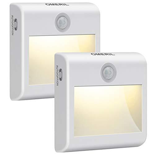 LED Nachtlicht mit Bewegungsmelder OMERIL 2 Stück Warmweiß Nachtlicht Kind, 3 Modi (Auto/ON/OFF) LED...