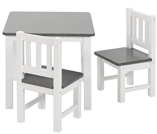 BOMI Holzsitzgruppe für Kinder Amy aus Kiefer Massiv Holz | bis 180 KG belastbar | für Kleinkinder, Mädchen...