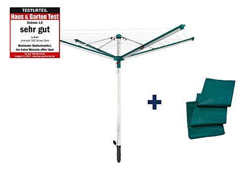 Leifheit Wäscheschirm Linomatic 500 Deluxe Cover mit Leineneinzug für saubere Wäsche, Wäschespinne für...
