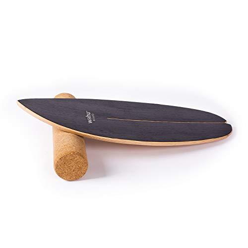 WAHU-Balanceboard (Schwarz) - Trickboard mit einzigartigem Rocker Shape inkl. Rolle - Balance Trainer (100%...