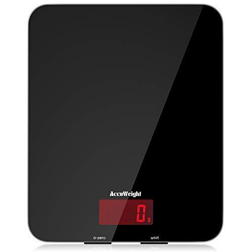 ACCUWEIGHT Digitale Küchenwaage Elektronische Waage Digitalwaage aus Sicherheitsglas mit LCD Display, 5kg x...