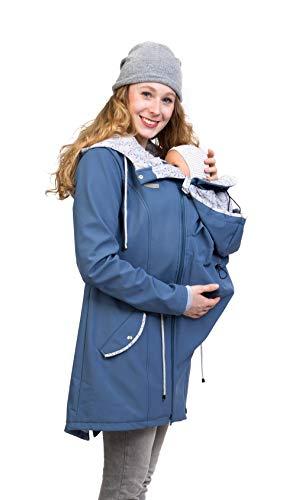 Viva la Mama - Umstandsjacke Tragejacke mit Einsatz Softshell Rücken Bauch Tragen - PINA schieferblau - M