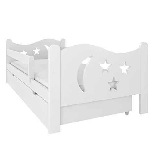 (80x140 ohne Matratze, Weiß) NeedSleep® Rausfallschutz Kinderbett Komplett 80x140 80x160 Bett Lattenrost...