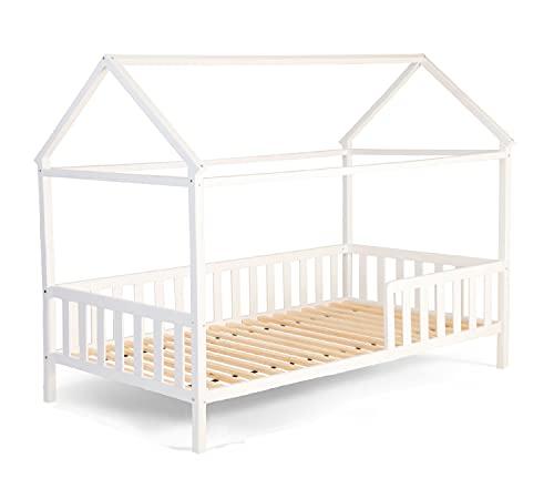 Alcube Hausbett 160x80 cm - 3 bis 9 Jahren - vielseitiges Holz Kinderbett für Jungen & Mädchen - Massivholz...