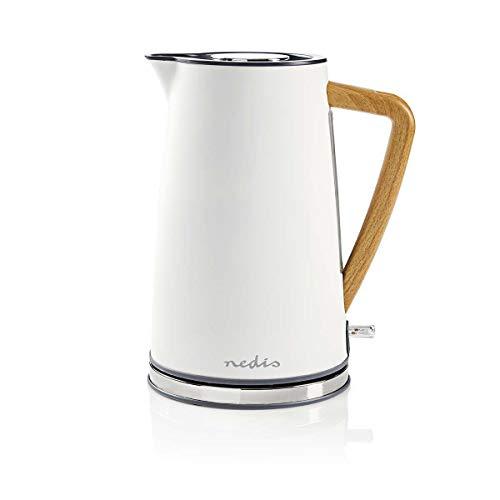 Nedis - Elektrische Wasserkocher - 1,7 l - Soft-Touch - Farbe: Weiß - Material: Stainless Steel - Minimiert...
